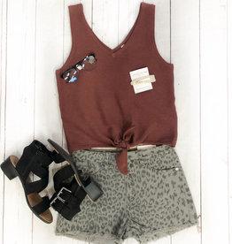 Kancan Grey Leopard High Rise Shorts