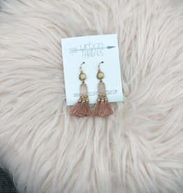Pink Stone Tassel Earrings