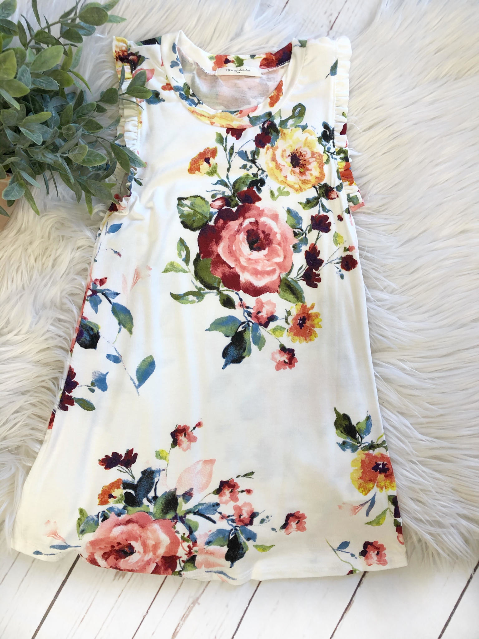 Girl's Floral Ruffled Dress