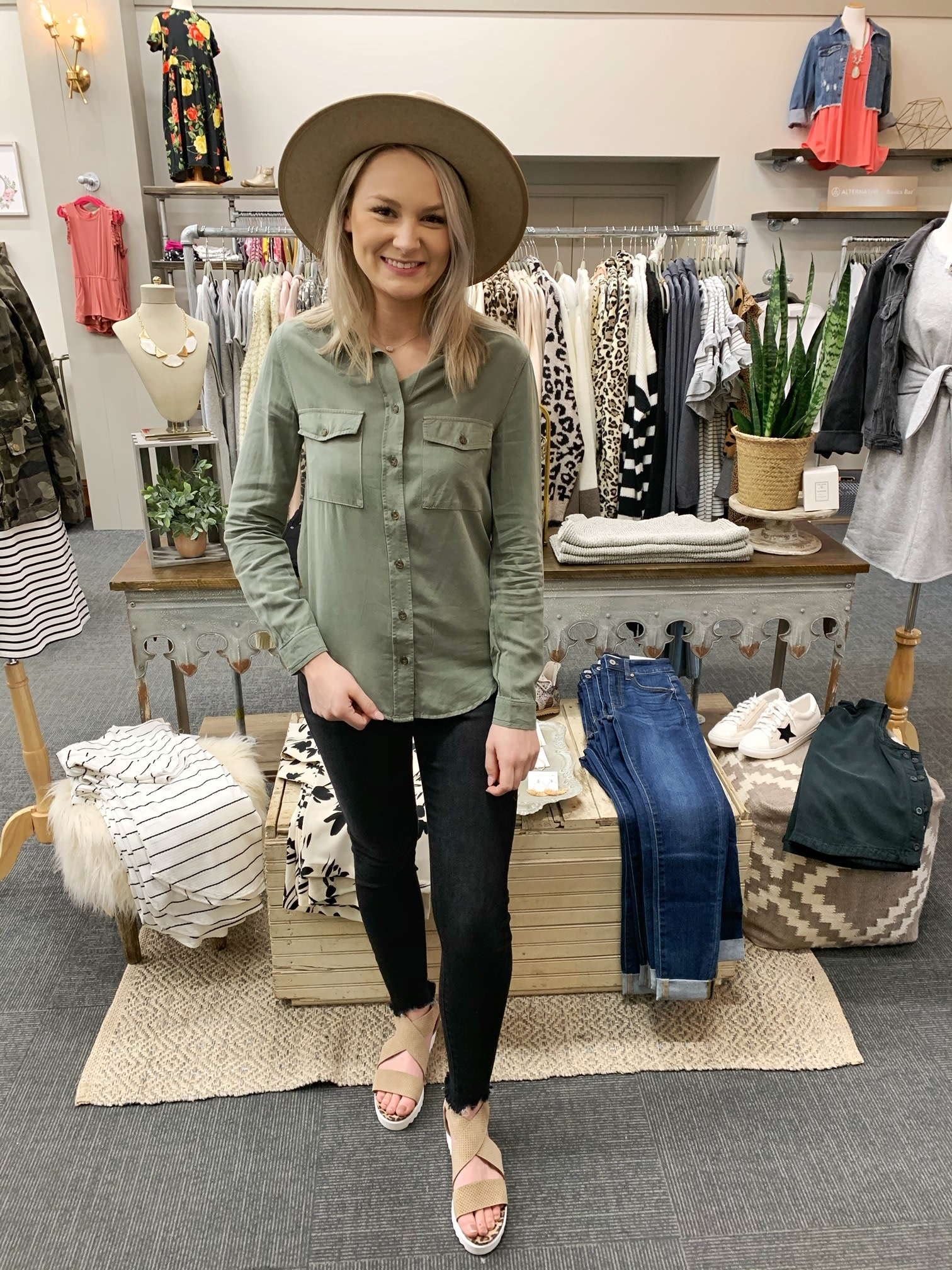 Sadie Olive Button Up