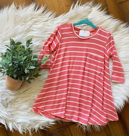 Pomelo Coral Striped Dress