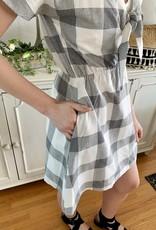 Grey Checkered Plaid Dress