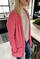 Pink Waffle Knit Cardigan