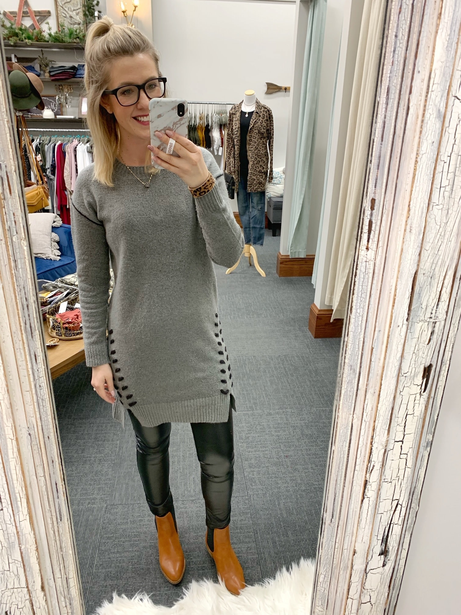 Gray Lace Up Sweater Dress