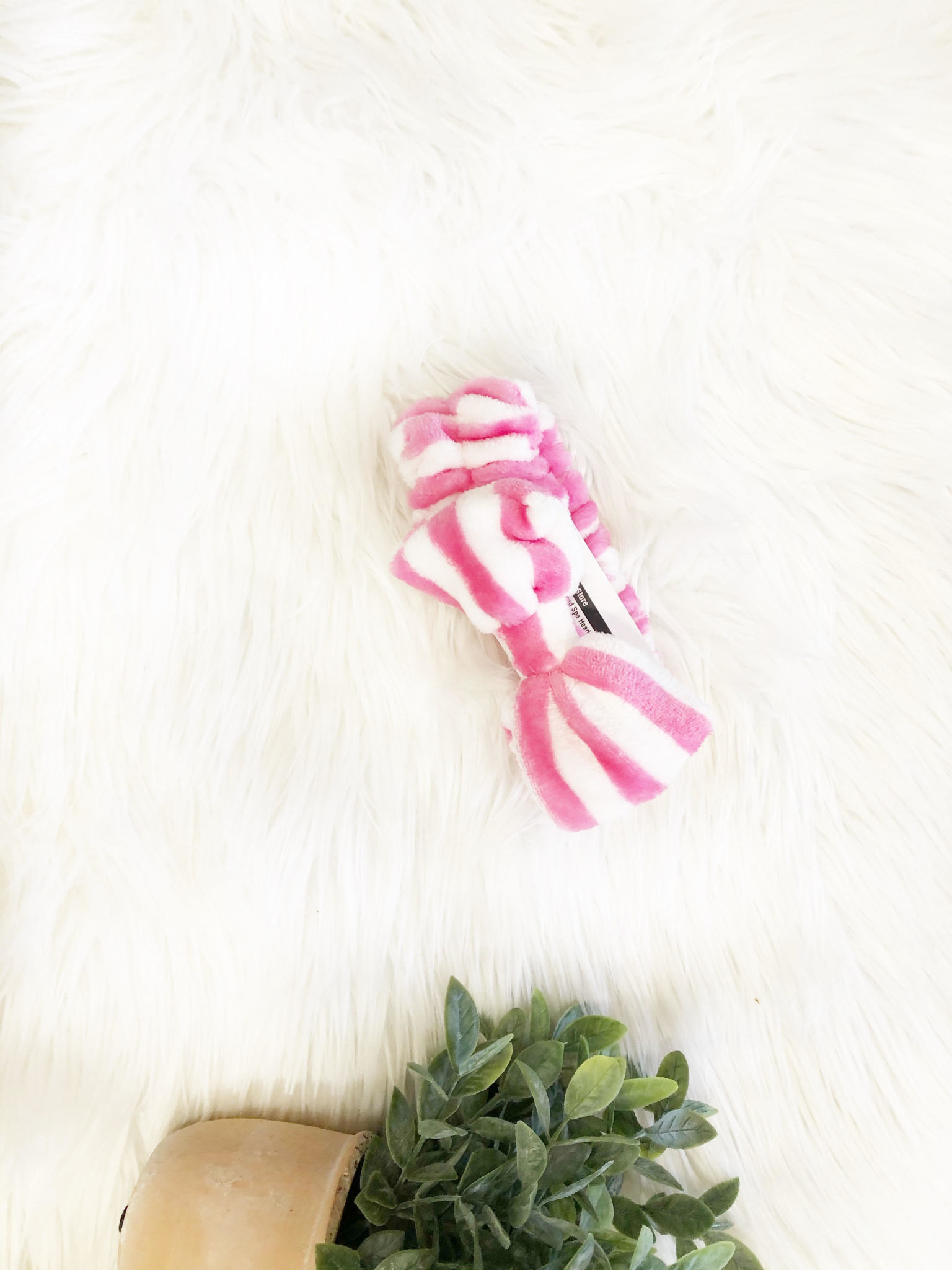 Pink Striped Spa Headband