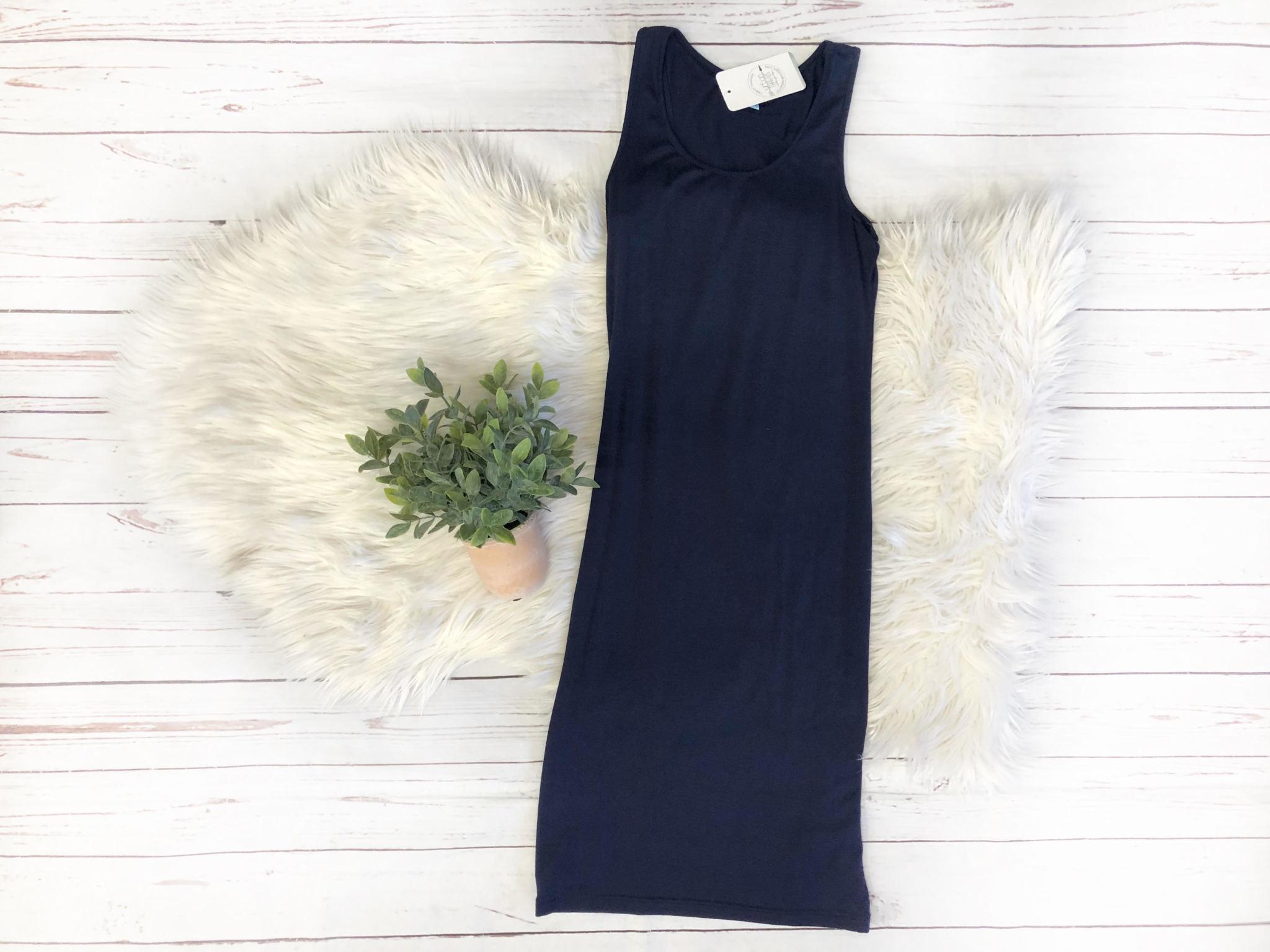 Navy Basic Bodycon Midi Dress