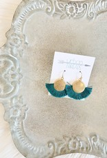 Teal Tassel Fan Earrings
