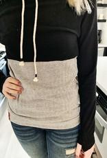 Black Herringbone Cowlneck Sweatshirt