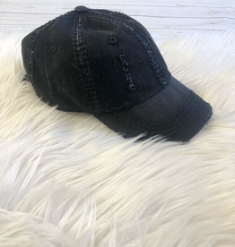 Black Distressed Cap
