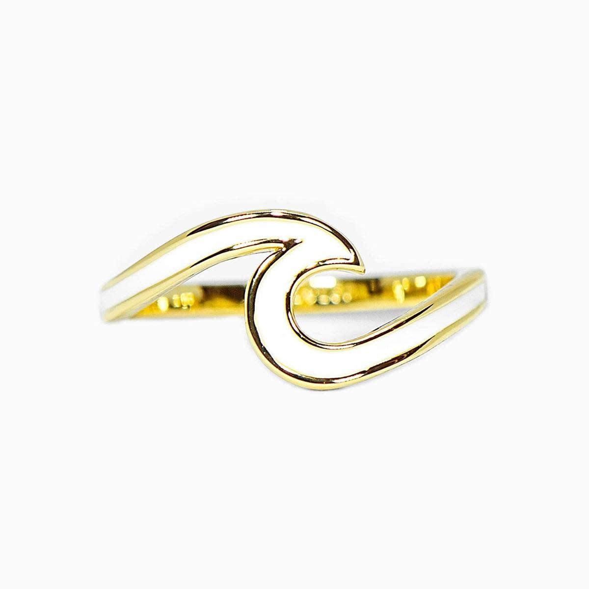 PuraVida Gold Enameled Wave Ring