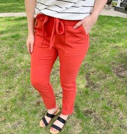Coral Paperbag Pants