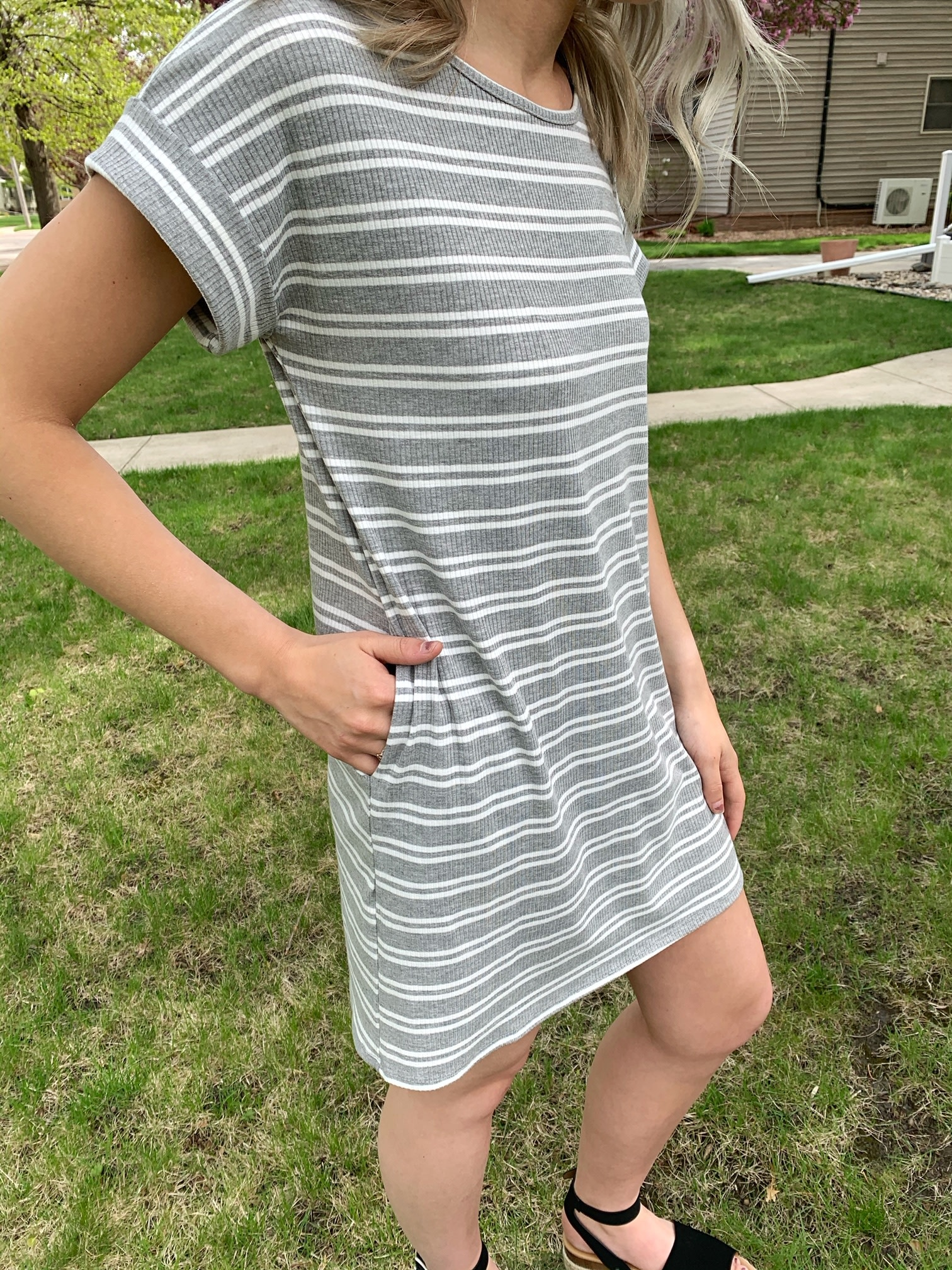 Amanda Striped Dress - Gray
