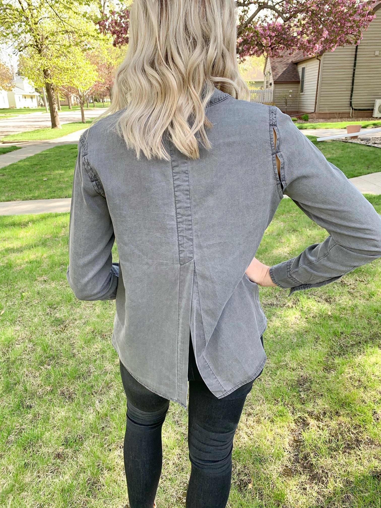 Dex Clothing Stone Grey Wash Button Up