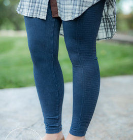 Denim Ladder Leggings Vintage Denim