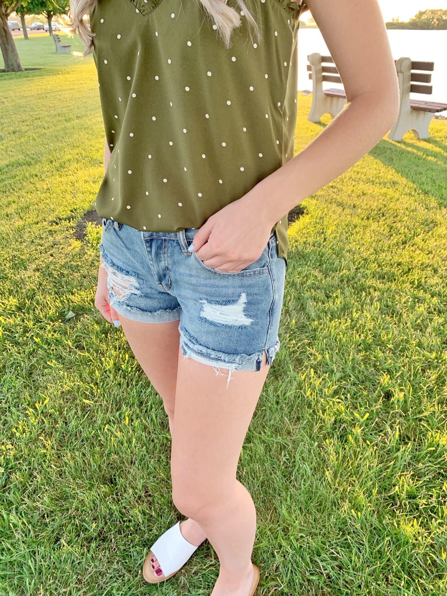 Medium Wash Distressed Shorts