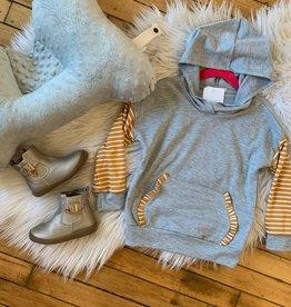 Girl's Mustard Striped Sweatshirt