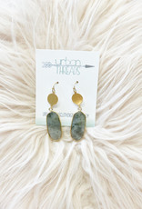 Gray Oval Drop Earrings