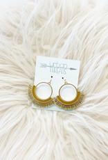 Tan Circle Tassel Earrings