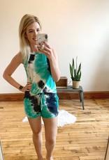 Jade + Black Tie Dye Shorts