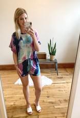 Mint + Purple Tie Dye Shorts
