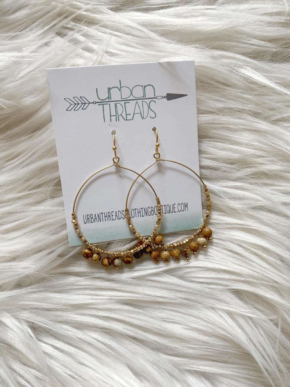 Stone Bead Drop Earrings