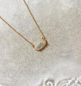 Gray Druzy Necklace