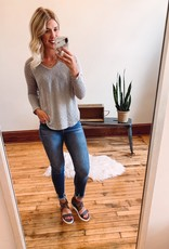 Grey Waffle Knit Top