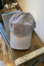 Light Grey Distressed Cap