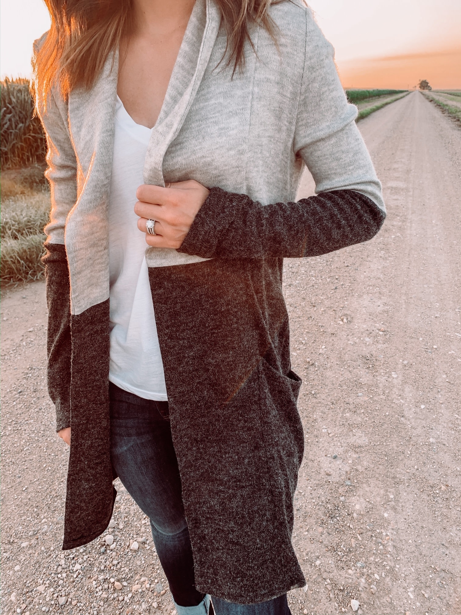 Charcoal/Grey Color Block Cardigan