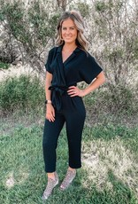 Lush Clothing Black Collared Jumpsuit