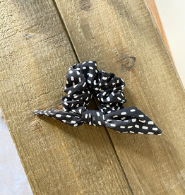Black Spotted Bow Scrunchie