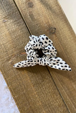 White Spotted Bow Scrunchie