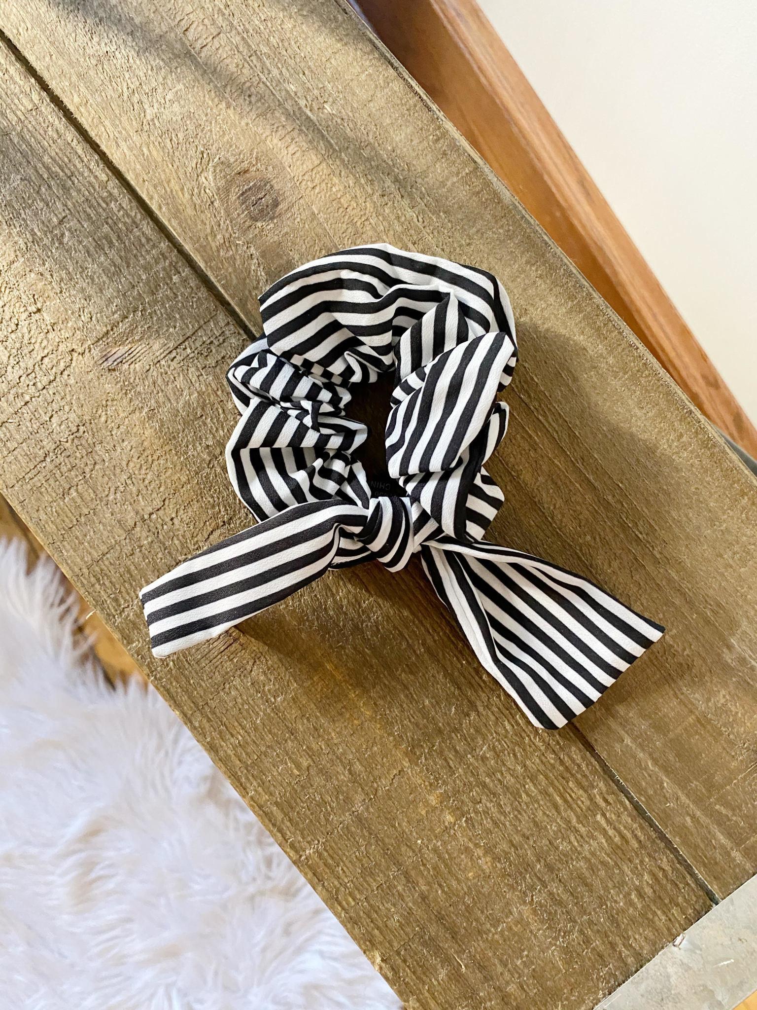 Striped Bow Scrunchie