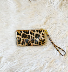 Leather Leopard Wristlet