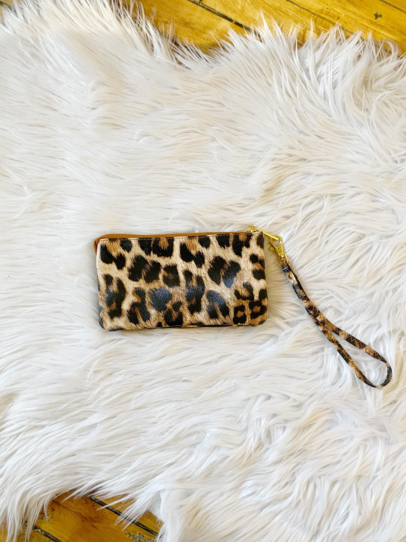 Leather Leopard Wristlet