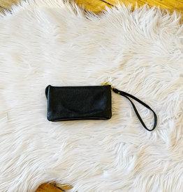 Leather Black Wristlet