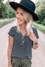 Black Striped Button Top