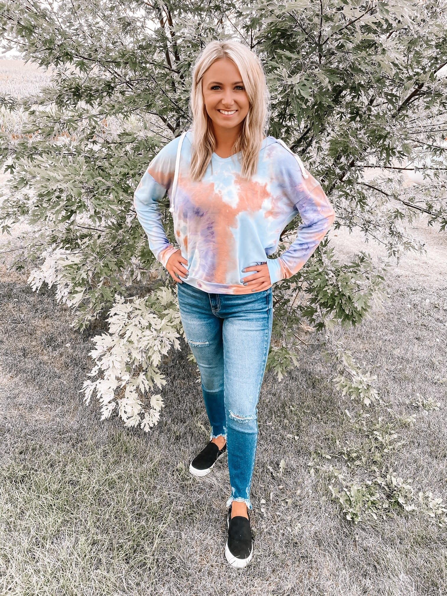 Peach + Purple Tie Dye Sweatshirt