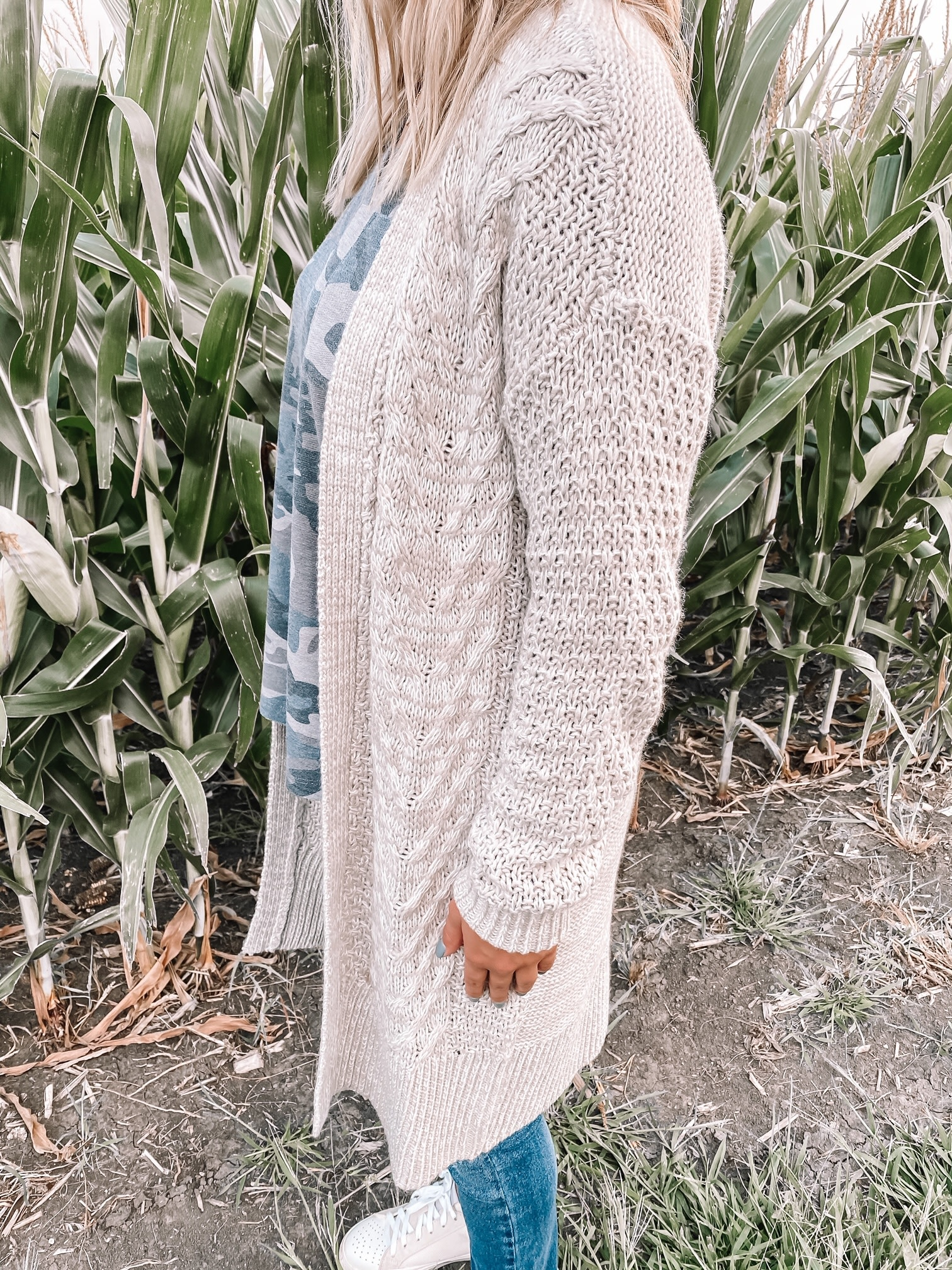 Cable Knit Taupe Cardigan