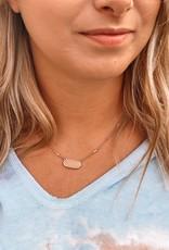 Oval Peach Dainty Necklace
