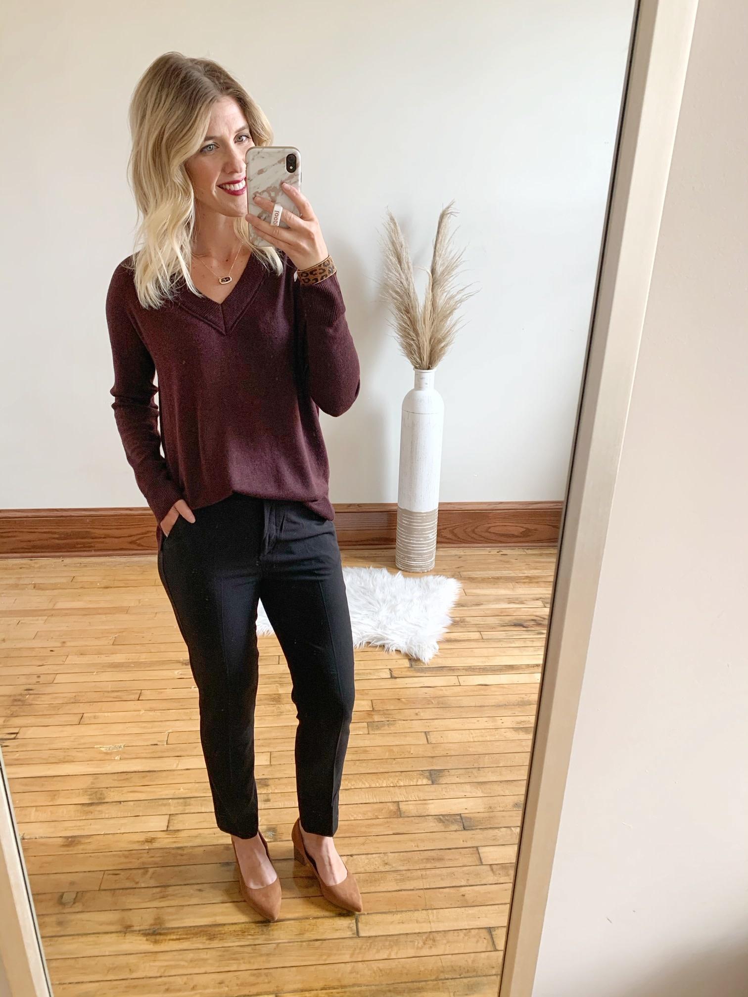 Evie Burgundy Sweater