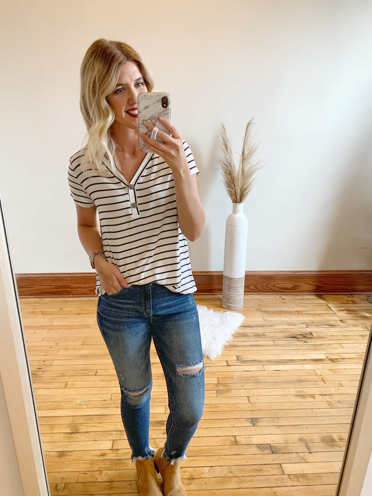 Ivory Striped Button Top