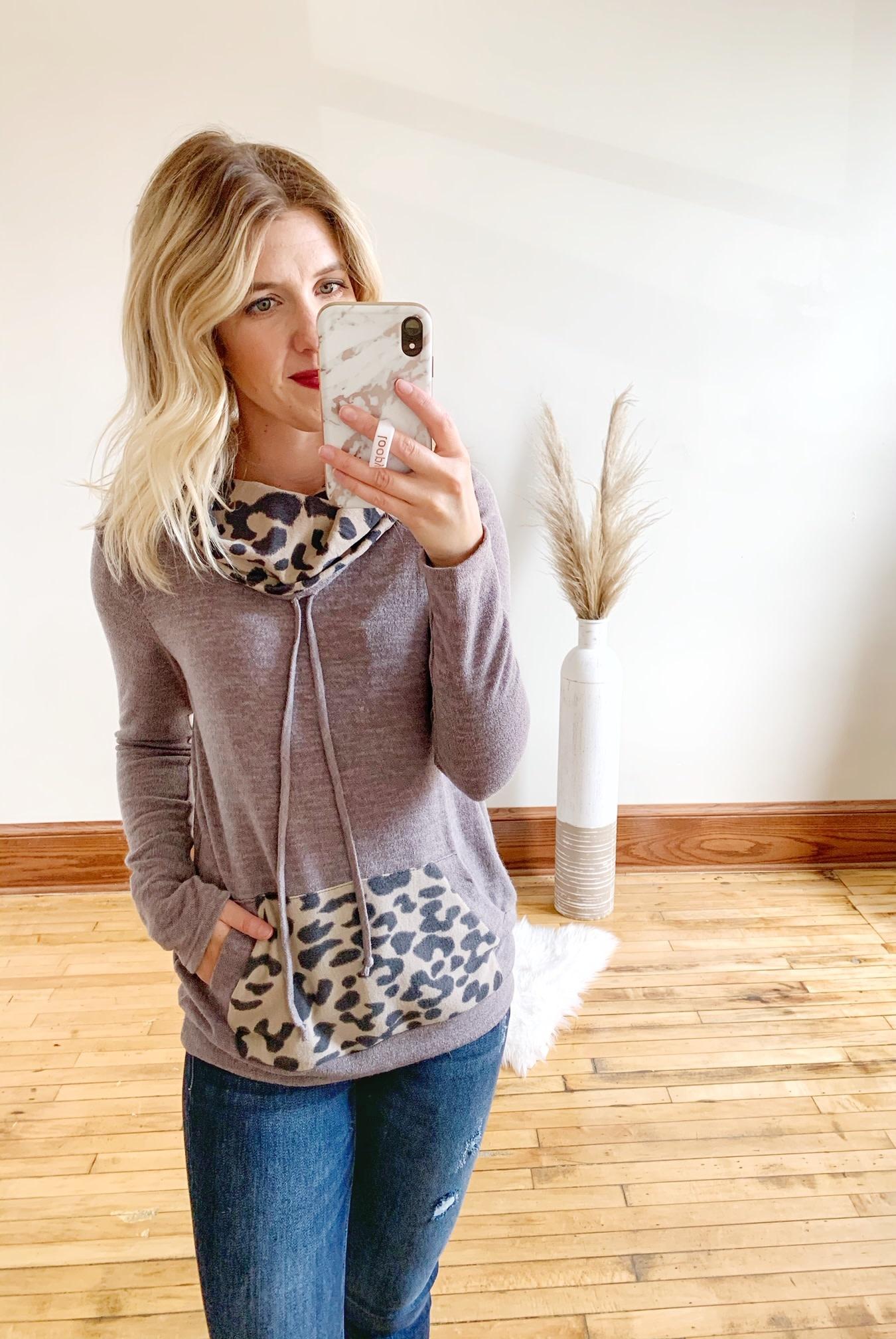 Brushed Leopard Cowlneck