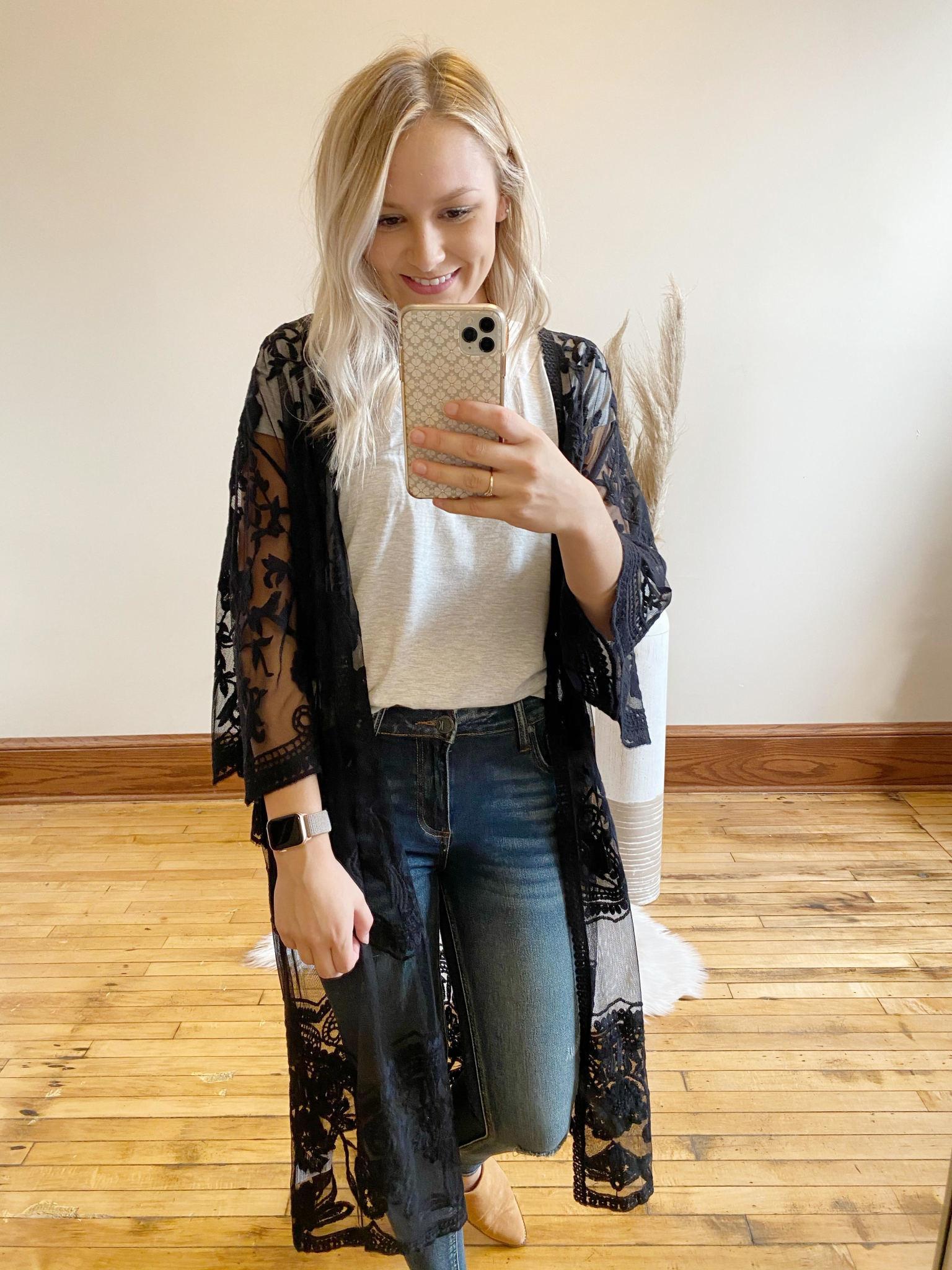 Luna Black Lace Kimono