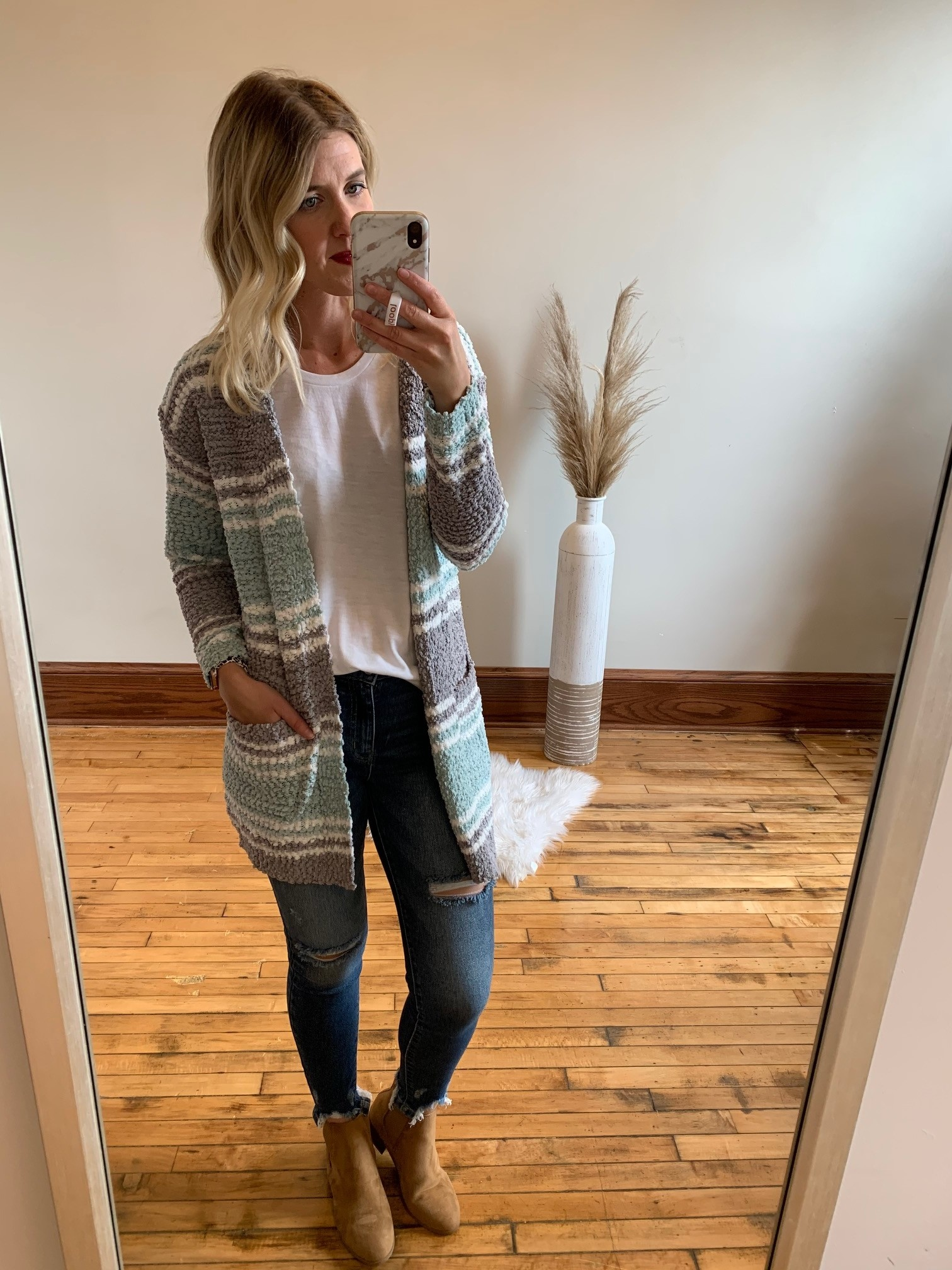 Mint Colorblock Cardigan