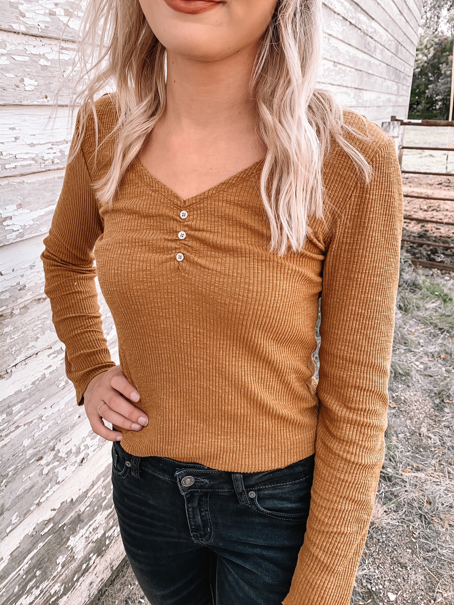 Layla Mustard Ribbed Top