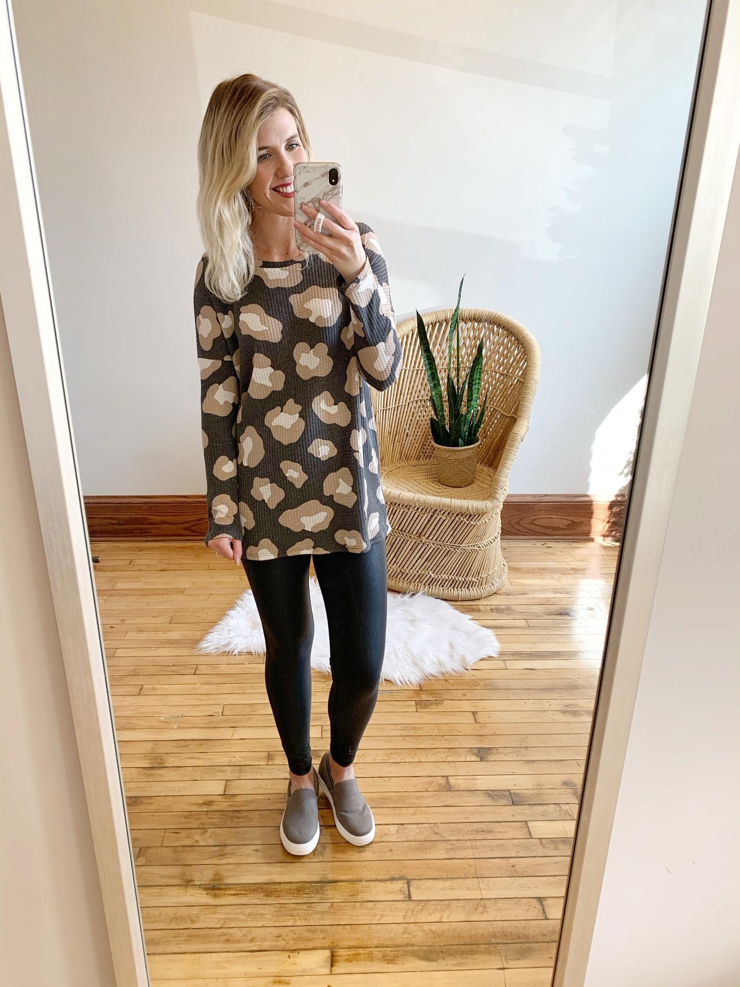 Black Leopard Waffle Knit Top