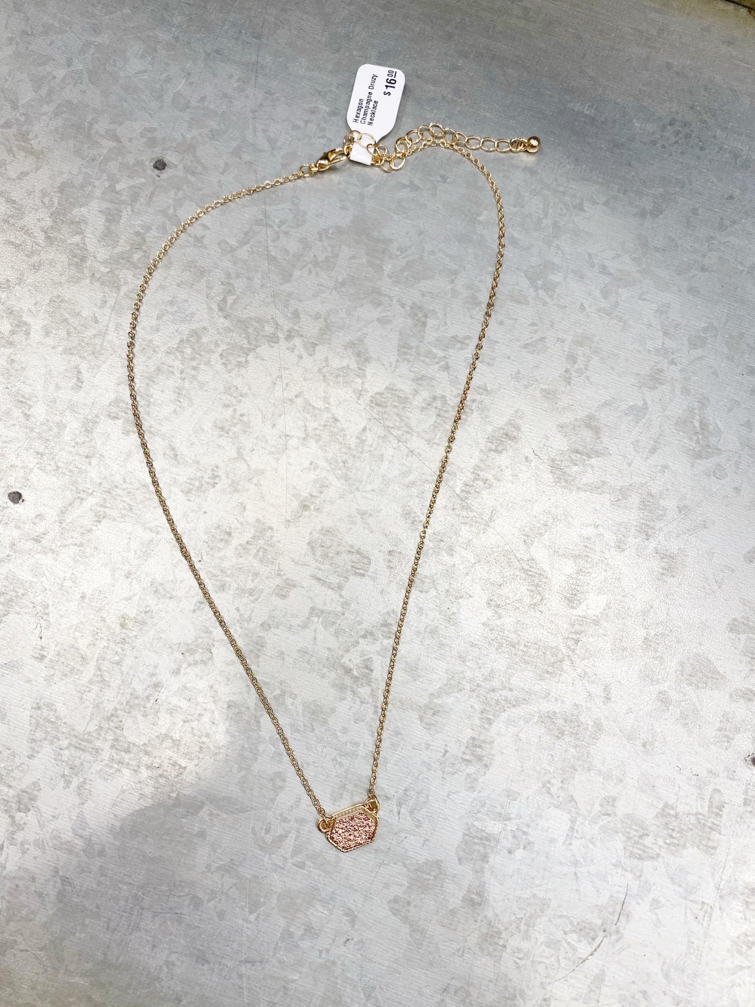 Hexagon Champagne Druzy Necklace
