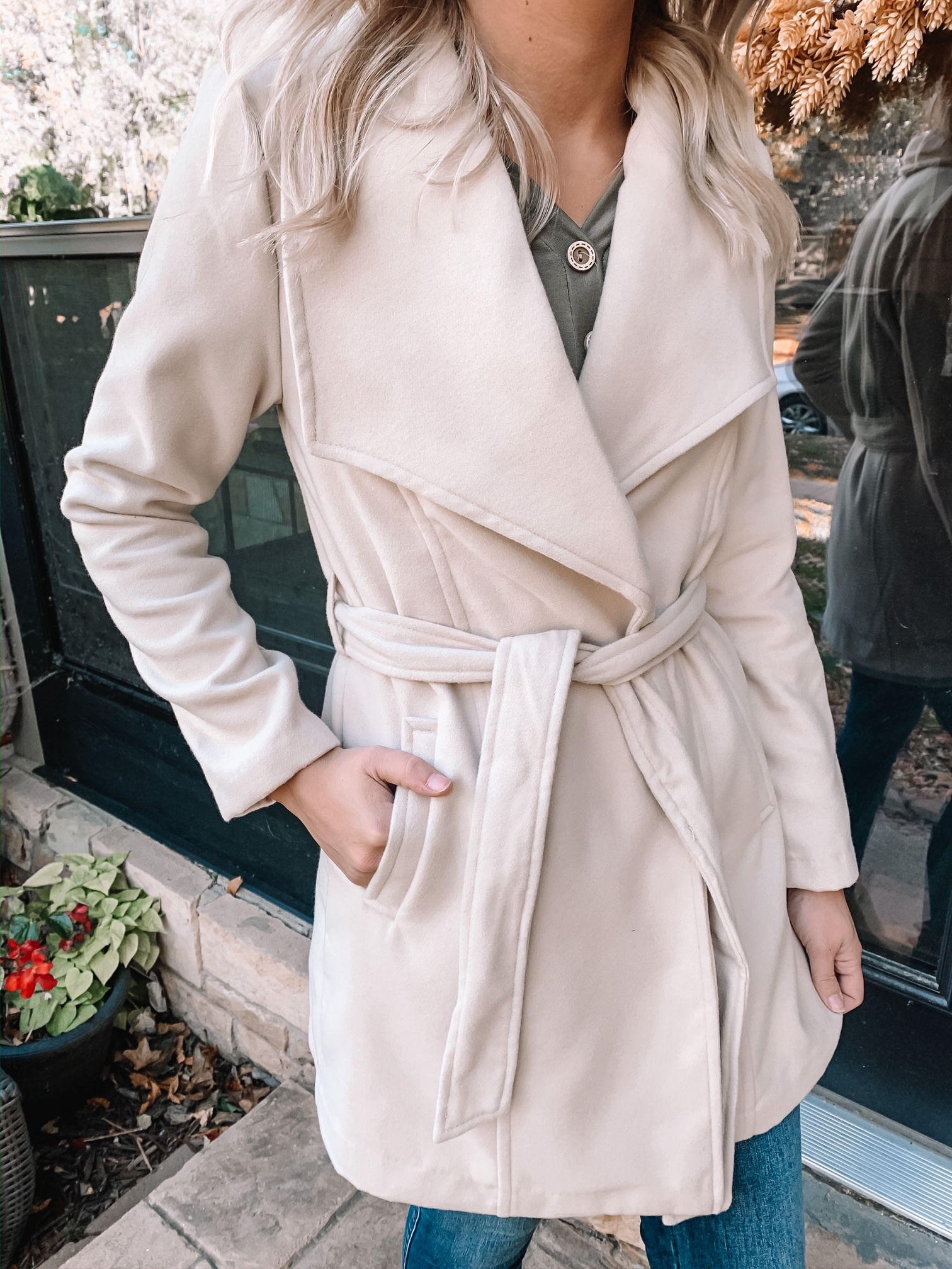 Emery Beige Belted Coat