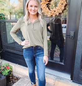 Maddie Olive Button Top